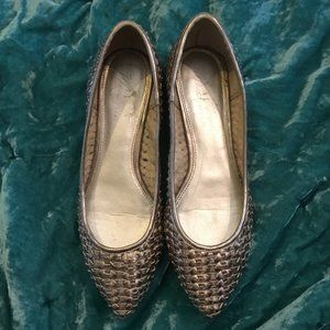 Marc Fisher Silver Woven Pointed Toe Flats